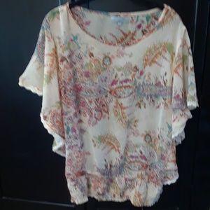 World Market Tan & Multi-color Sheer Blouse S/M